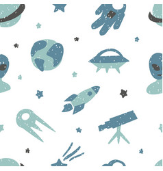 childish seamless pattern with cute space elements vector image