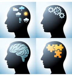 Human head with brain concepts vector image vector image