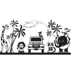 safari in jungle with wild animals vector image vector image