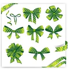 Set of green polka dot gift bows with ribbons vector