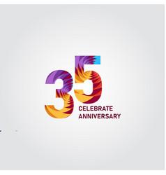 35 year anniversary elegant rainbow template vector