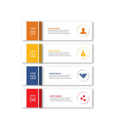 4 steps of infographic with orange yellow blue vector image