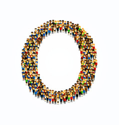 A group of people in english alphabet letter o vector