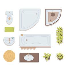 A set bathroom elements top view vector