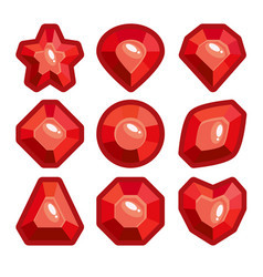 a set of red emblems of precious stones vector image