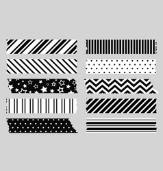 adhesive tape with black and white patterns vector image
