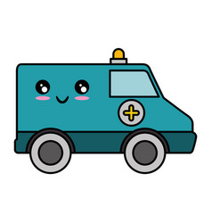 Ambulance medical vehicle kawaii cartoon vector
