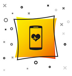 black smartphone with heart rate monitor function vector image