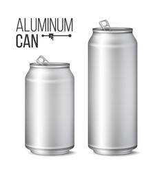 Blank metallic can silver can 3d vector