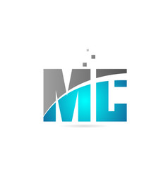 Blue grey alphabet letter combination mc m c for vector