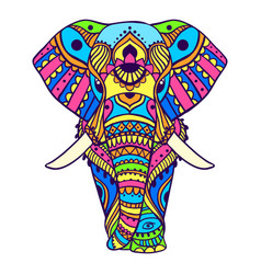 boho elephant pattern floral vector image