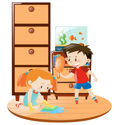 Boy and girl doing housework together vector