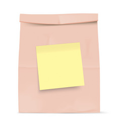 brown bag with yellow sticky note vector image