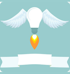 bulb with wings idea concept vector image