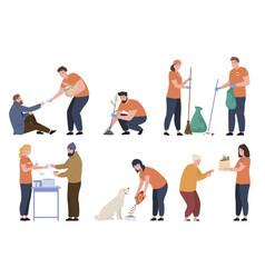 Bundle people volunteer work flat vector