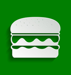 Burger simple sign paper whitish icon vector