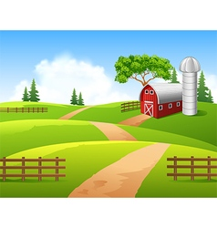 Cartoon of farm background vector