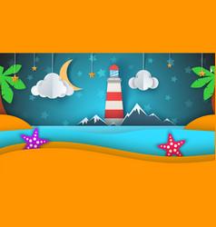 cartoon paper island beach palm star cloud vector image