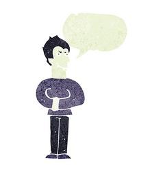 Cartoon vampire with speech bubble vector