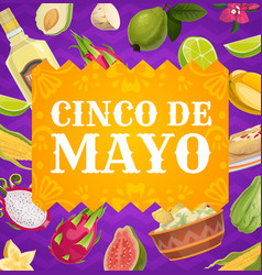 Cinco de mayo poster mexican holiday border vector