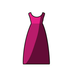 Colorful drawing of fuchsia dress eighties retro vector