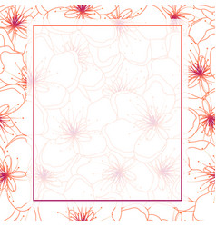 Colorful line peach cherry blossom banner vector