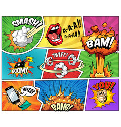 Comic bright composition vector
