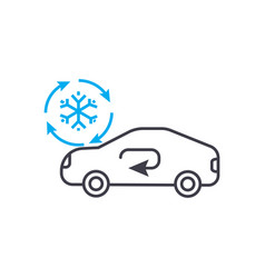 cooling car system thin line stroke icon vector image