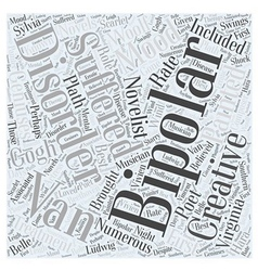 Creativity and bipolar disorder word cloud concept vector