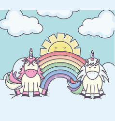 Cute adorable unicorns with clouds sunny and vector