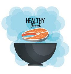 delicious salmon meat in bowl healthy food vector image