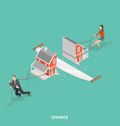 Divorce flat isometric concept vector