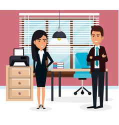 Elegant business people in the office scene vector