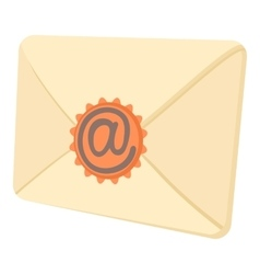 Envelope with email sign seal icon cartoon style vector image
