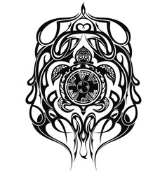 Ethnic style turtle tattoo vector