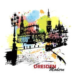 European sity sketch Dresden Germany vector