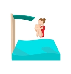Female diving in a pool cartoon icon vector