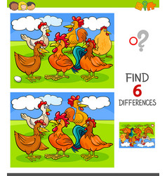 finding differences game with hens and roosters vector image