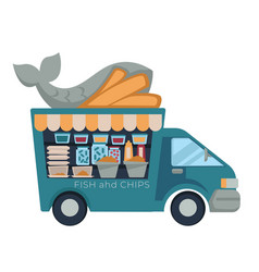 fish and chips fast food truck isolated vehicle vector image
