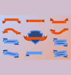 Flat blue orange ribbons vector