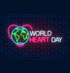 glowing neon medicine concept sign with earth vector image