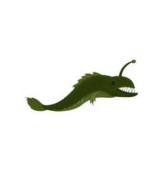 Green long predatory fish with sharp teeth marine vector