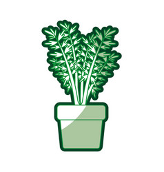 Green silhouette of carrot plant in flower pot vector