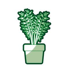 Green silhouette of carrot plant in flower pot vector