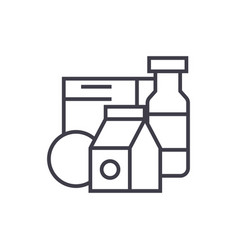 grocery productsmilk cereals line icon vector image