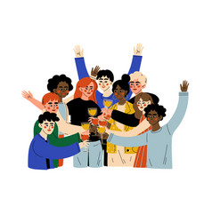 Group happy people celebrating an important vector