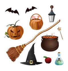 Halloween cartoon icons isolated on white vector