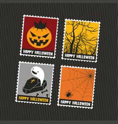 halloween colorful cute stamps vector image