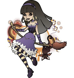 Halloween Witch Purple vector image