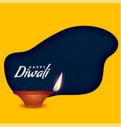 Happy diwali burning diya on yellow background vector